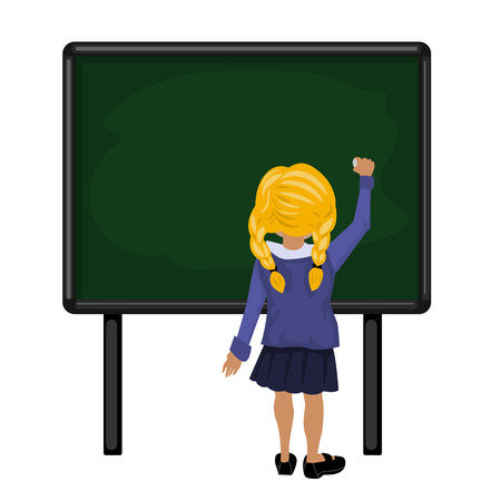 school girl with red hair is going to write on the clean blackboard