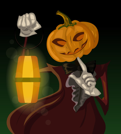 attire: halloween illustration of smiling jack-o-lantern in a vinous old-fashioned attire, holding a glowing lantern Illustration