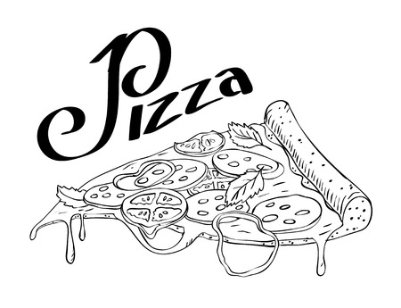 tomato slice: hand drawn sketch slice of pizza