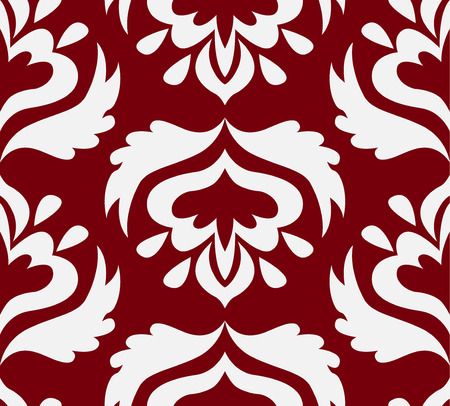damask wallpaper: Classic seamless vector damask pattern. Simple white elements on the rimson background. Good for wallpapers and page filling. Illustration