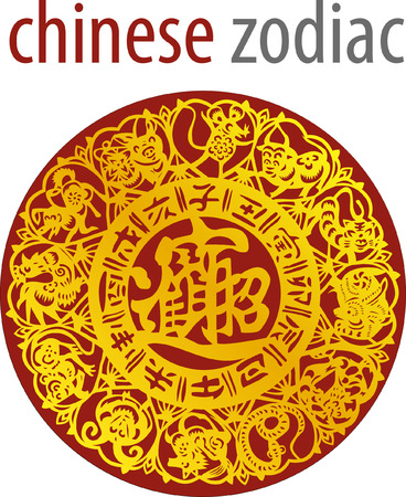 Chinese zodiac wheel with signs and the five elements symbols 向量圖像