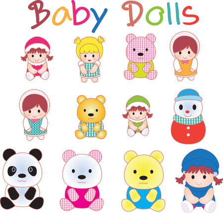 cute baby girls: Vector illustration of Baby Doll