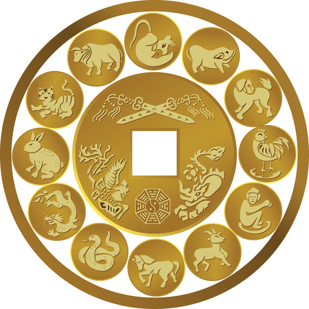 Illustration of Zodiac coin symbols