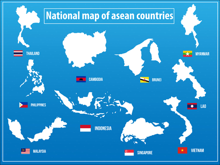 south asia: Vectors illustration of National map of asian countries