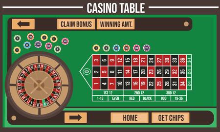 Ilustracja wektorowa stołu kasynowego Ilustracje wektorowe