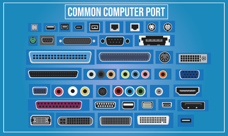 Vector illustration of Computer ports in the world