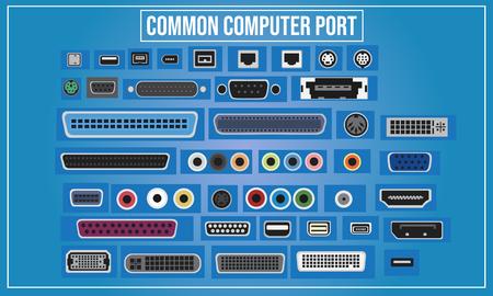 世界のコンピュータポートのベクトル図