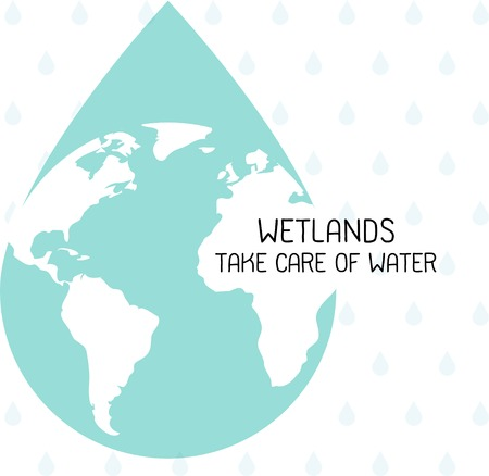 Vector graphic Illustration of Wetlands take care water day