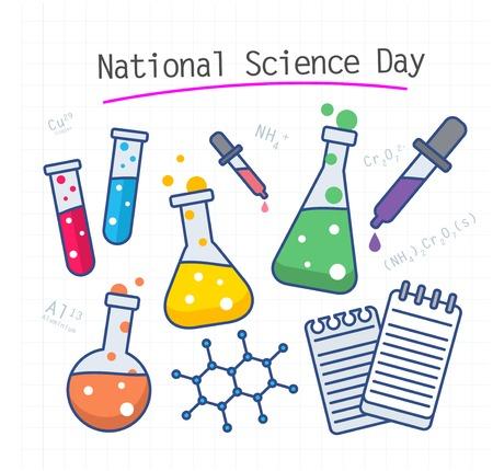 Illustration graphique vectorielle de la journée nationale de la science