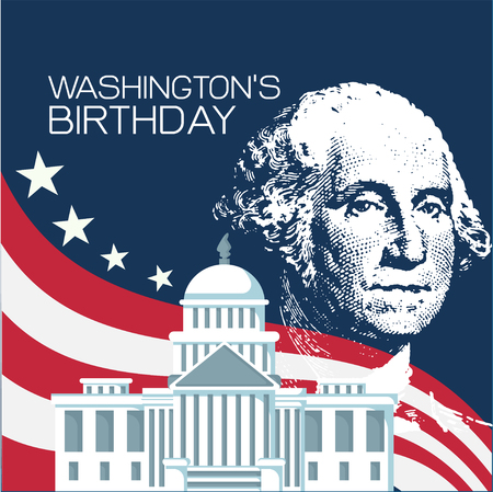 Vector graphic Illustration of Washington Birthday
