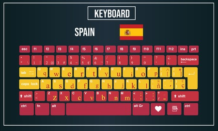 Vector Illustration Computer keyboards layout of Spain