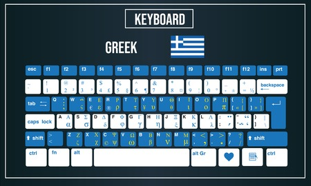 Vector Illustration Computer keyboards layout of Greek