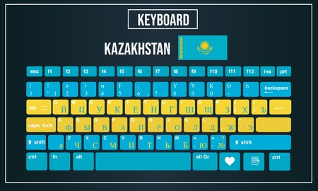 Vector Illustration Computer keyboards layout of Kazakhstan