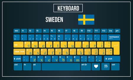 Vector Illustration Computer keyboards layout of Sweden