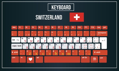 Vector Illustration Computer keyboards layout of Switzerland