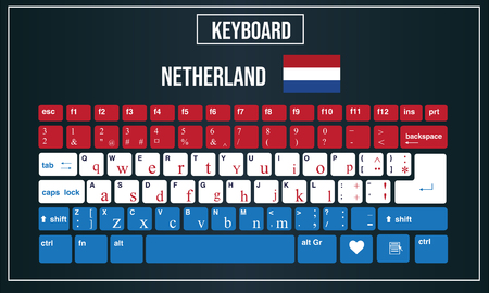 Vector Illustration Computer keyboards layout of Dutch