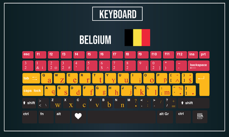 Vector Illustration Computer keyboards layout of Belgium