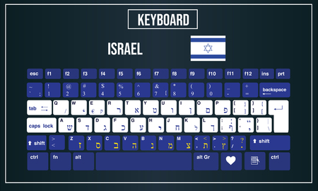 Vector Illustration Computer keyboards layout of Israel