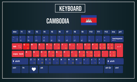 Vector Illustration Computer keyboards layout of Cambodia 向量圖像