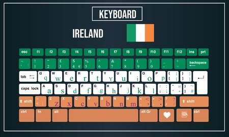 Vector Illustration Computer keyboards layout of Ireland