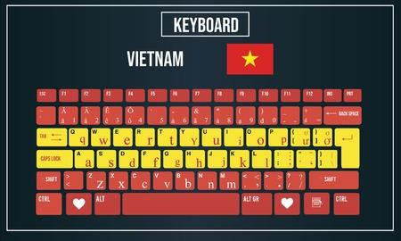 Vector Illustration Computer keyboards layout of Vietnam 向量圖像