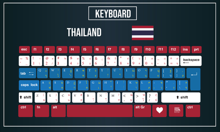 Vector Illustration Computer keyboards layout of Thailand 向量圖像