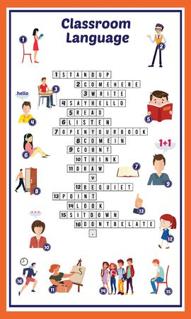 Vector Illustration of puzzle crossword in Classroom language 向量圖像