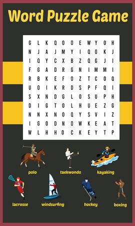 Vector Illustration of word search puzzle in Sports