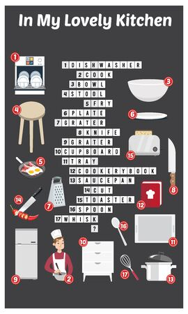 Vector Illustration of puzzle crossword in Kitchen