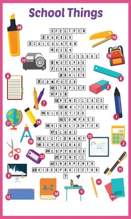 Vector Illustration of puzzle crossword in School things