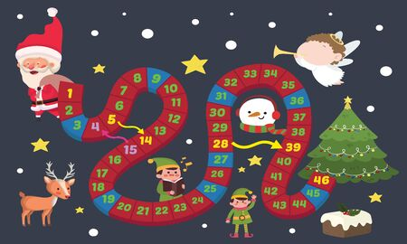 Vector illustration of Puzzle game Christmas ladder