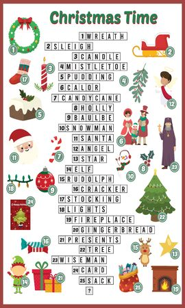 Vector Illustration of puzzle crossword in Christmas time