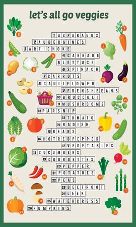 Vector Illustration of puzzle crossword in Veggies