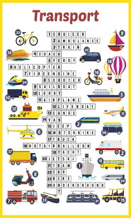 Vector Illustration of puzzle crossword in Transport