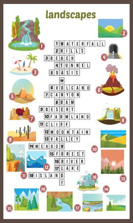 Vector Illustration of puzzle crossword in Landscapes