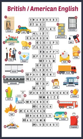 Vector Illustration of puzzle crossword in British English 向量圖像