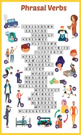 Vector Illustration of puzzle crossword in Phrasal verb
