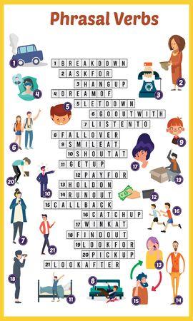 Vector Illustration of puzzle crossword in Phrasal verb 版權商用圖片 - 131900078