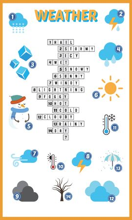 Vector Illustration of puzzle crossword in Weather