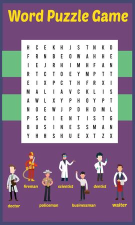 Vector Illustration of word search puzzle in Career