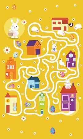 Illustrazione vettoriale del gioco di puzzle Labirinto di coniglio