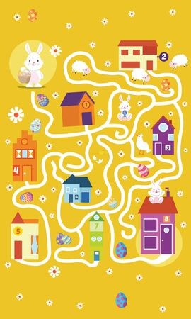 Vector illustration of Puzzle game Rabbit maze