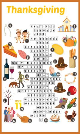 Vector Illustration of puzzle crossword in Thanksgiving