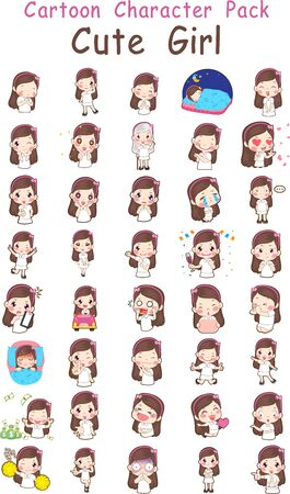 Vector illustration of Cute Girl Cartoon Pack 向量圖像
