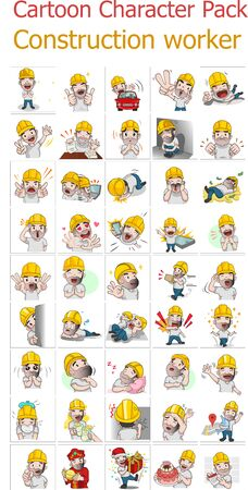 Vector illustration of Engineer Cartoon Pack 向量圖像