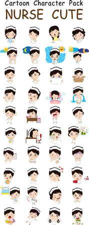 Vector illustration of Nurse Cartoon Pack