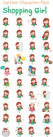 Vector illustration of Shopping Girl Cartoon Pack 向量圖像