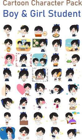 Vector illustration of Thailand Student Cartoon Pack 向量圖像