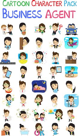 Vector illustration of Agent Cartoon Pack 向量圖像