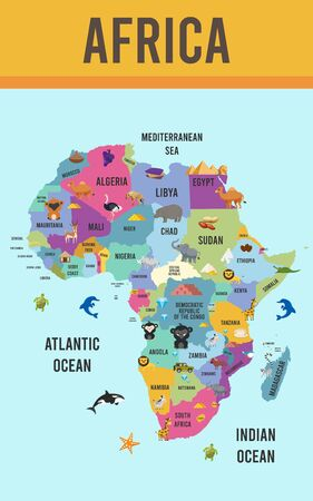 Vector Illustration of Africa map animal flat design